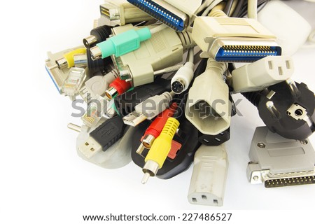 Old Connecting Cables and Adapters on White Background. - stock photo