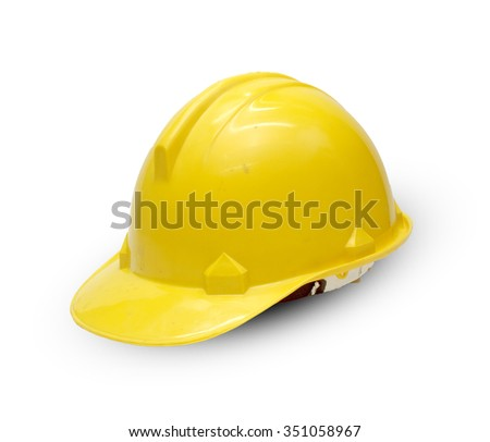 Old construction Helmet on white background - stock photo
