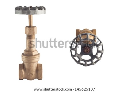 Old control gate valve for connect water pipe line, over 60 years ago and used at Thailand waterwork , made from brass, O-Open S-stop - stock photo