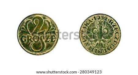 old copper coins Polish, 2 groshe 1932 - stock photo