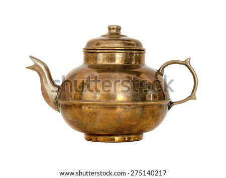 old copper kettle - stock photo
