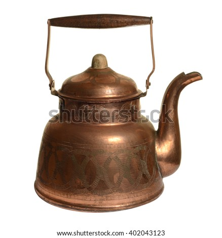 Old copper kettle isolated on white background - stock photo