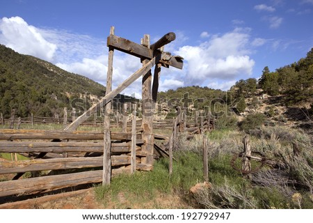 Old corral in Arizona mountains - stock photo