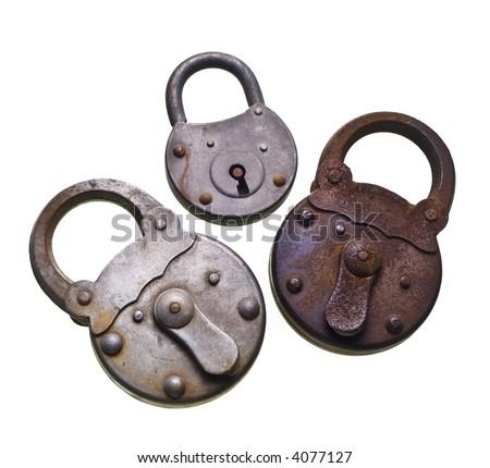 old corroded padlock - stock photo