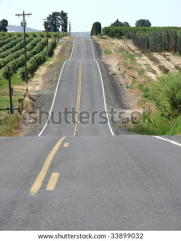 Old country road through wine country vineyard - stock photo