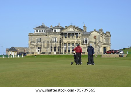Old Course at St Andrews is the oldest golf course in the world, a public course over common land in St Andrews, Fife, Scotland - stock photo
