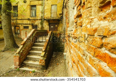 Old courtyard - stock photo