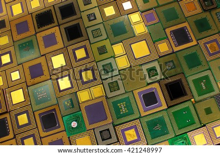 Old CPU chips - computer processors background - stock photo