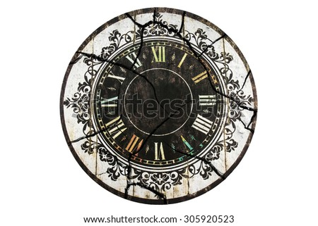 Old crack clock isolated. Vintage clock. - stock photo