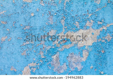 Old cracked blue paint background texture wall - stock photo