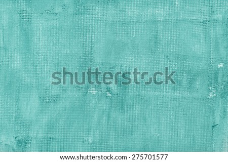 Old cracked concrete wall with net, holes, splits and stains. Texture cement background.  Turquoise, motton blue, mint and tiffani colors - stock photo