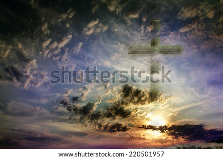 old cross and celestial landscape as religious background - stock photo