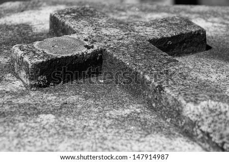 Old cross on gravestone, Quebec, Canada - stock photo