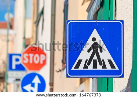old crossing sign close up - stock photo