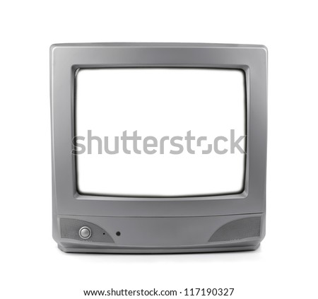 Old CRT TV with white screen isolated on white - stock photo