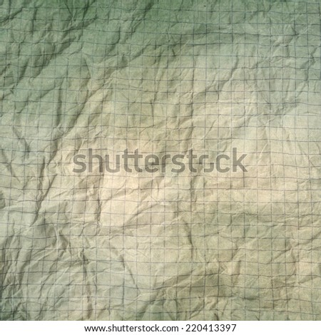 old crumpled graph paper  - stock photo