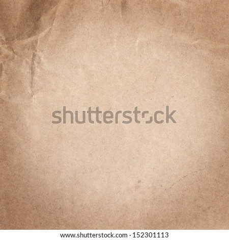 Old Crumpled recycled paper  texture or background vignette, color beige - stock photo