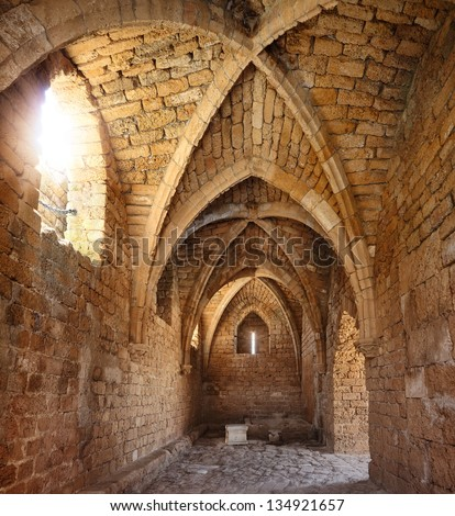 Old crusaders fortress inside - stock photo
