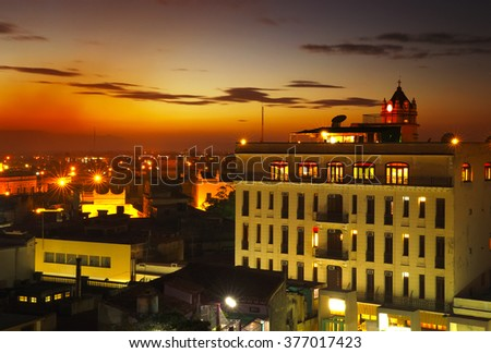 Old  cuban city at night from the roof - stock photo