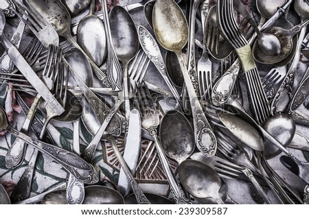 Old cutlery. - stock photo