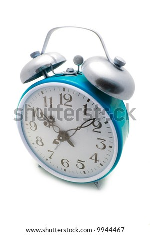 Old cyan alarm clock on a white background - stock photo