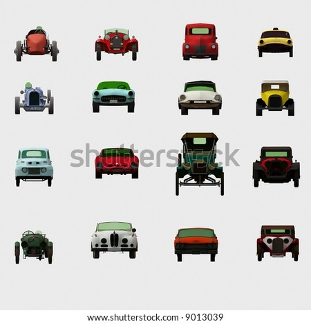 Old 3d cars collection - stock photo