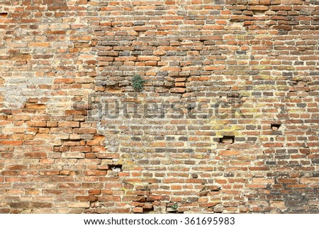 old damaged exterior brick wall ready for your design - stock photo
