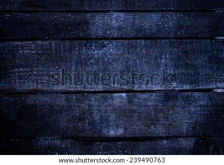 Old  dark blue   grunge wood background with knots and scratches.  - stock photo