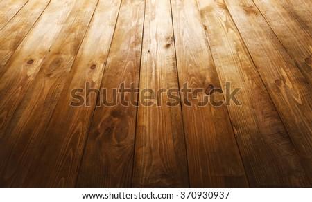 Old dark wooden desk  - stock photo