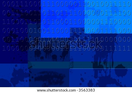 Old Data on various colors of blue with Copy-Space - stock photo