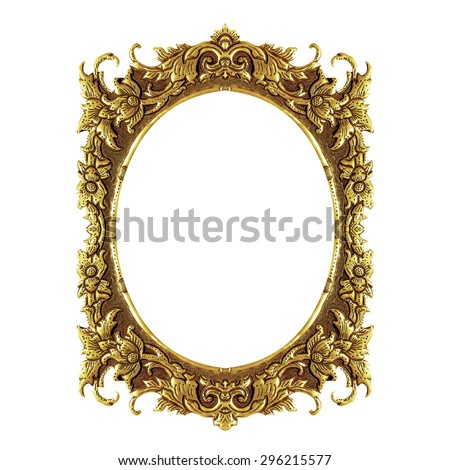 old decorative frame - handmade, engraved - isolated on white background - stock photo