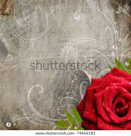 Old decorative frame with flowers and pearls - stock photo