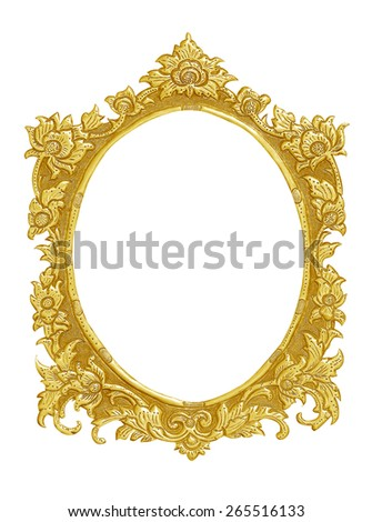 old decorative gold frame - handmade, engraved - isolated on white background - stock photo