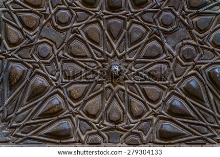 Old Decorative Islamic Wood Art Background - stock photo