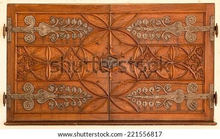 Old decorative wooden door  - stock photo