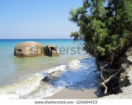 Old defensive bunker near Tigaki; Kos; Greece - stock photo