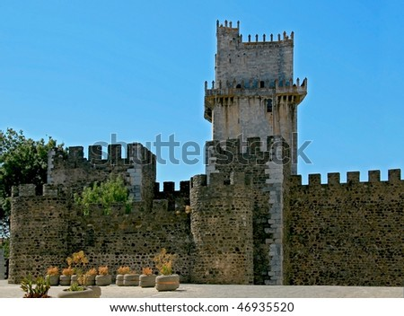 Old defensive castle tower in Beja, Portugal - stock photo