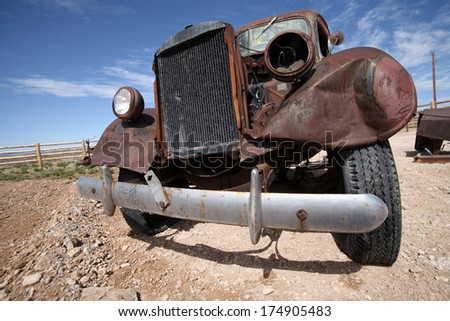 Old destroy abandoned american car, USA - stock photo