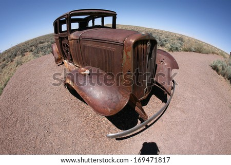 old destroy abandoned car - stock photo