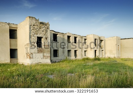 Old destroyed building without people - stock photo