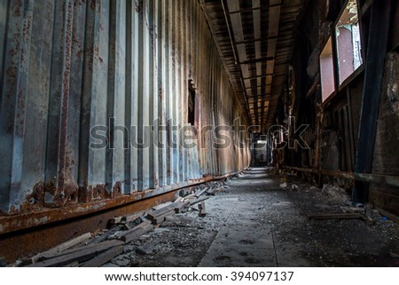 Old destroyed factory in Hong Kong - stock photo