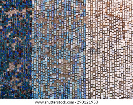 Old diagonal colorful mosaic texture on the wall. Landscape style. Great background or texture. - stock photo