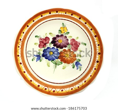Old dinner plate isolated on white background  - stock photo
