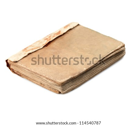 Old dirty book isolated on white - stock photo