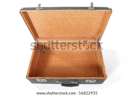 Old dirty dusty suitcase. Suitcase is opened and empty. focus on bights. Isolated. - stock photo