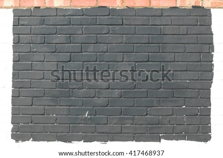Old dirty grey painted brick wall background - stock photo