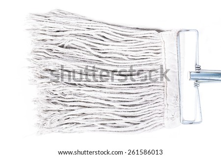 Old dirty mop or swab household, Isolated on white background. - stock photo