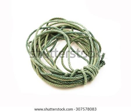 Old dirty nylon rope  isolated on white background - stock photo
