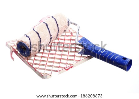 old dirty paint roller isolated on white background - stock photo