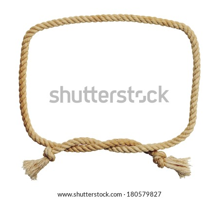Old Dirty Rope Square Knot Frame Isolated on White Background. - stock photo